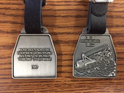 Picture of Bucyrus-Erie 88B Series 3 watch fob pewter finish