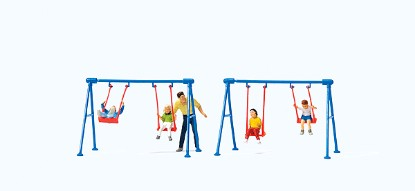 Picture of Children on Playground Swings -- 4 Children, Father, 2 Swing Sets