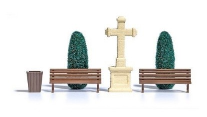 Picture of Stone Cross Scene -- Stone Cross, 2 Trees, 2 Benches & Garbage Can