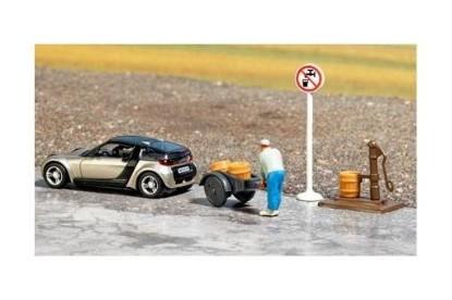 Picture of Miniature Scene --(Smart Roadster, Water Pump, Sign, Figure, Cart & Buckets)