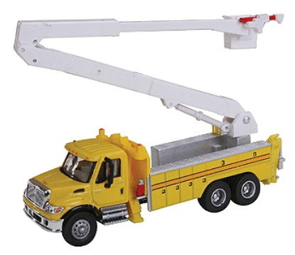 Picture of International 7600 Utility Truck w/Bucket Lift -- Yellow