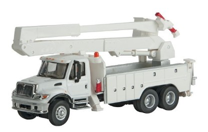Picture of International 7600 Utility Truck w/Bucket Lift -- White w/Railroad Maintenance-of-Way Logo Decals