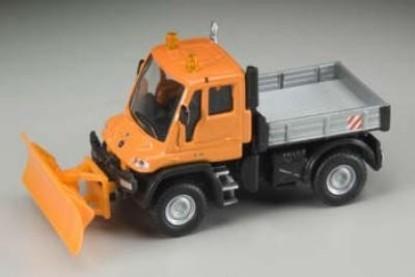 Picture of Mercedes-Benz Unimog U300 Truck w/Snow Plow - Orange/Silver