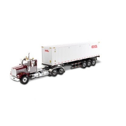 Picture of Western Star 4900 Day Cab  maroon/grey+ Skeletal Trailer + container