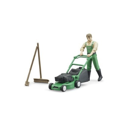 Picture of Gardener with mower and accessories