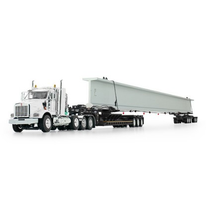 Picture of Kenworth T800 w/ fontaine lowboy + with Bunk and Elk River 6-Axle Hydra Steer Trailer with Bridge Beam  white/black