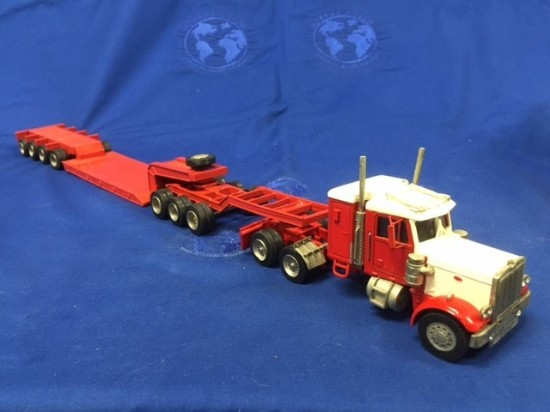 Peterbilt 4 axle lowboy + 3 x jeep red/cream