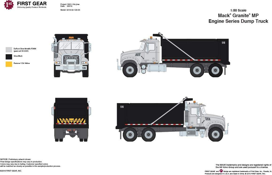 Picture of mack granite dump truck silver black