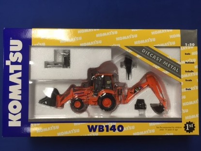 Picture of Komatsu WB140 tractor loader hoe orange IOWA