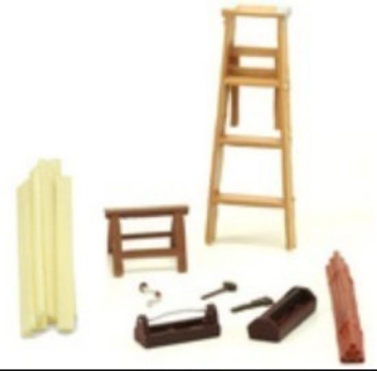 Picture of Carpenter Building 14pc Set (Tools, Saw Horse, Ladder, Lumber, etc)