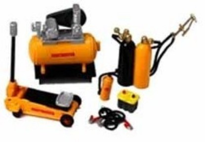 Picture of Garage Accessories: Jack, Compressor, Cables, Battery, Welding Tanks, Extinguisher
