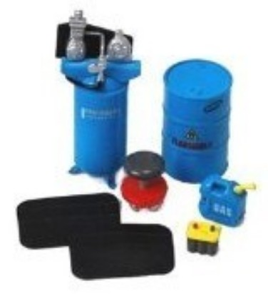 Picture of Garage Accessories: Barrels, Stool, Gas Container, Battery etc.