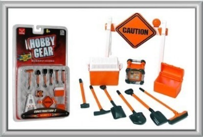 Picture of Construction Accessories: Caution Sign, Tool Box, Cooler, Generator, Shovels, Broom, Sledge Hammer, Pick Axe)