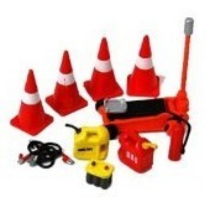 Picture of Roadside Accessories: Cones, Jack, Cables, Gas/Oil Containers, Battery