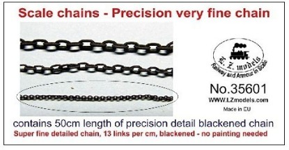 Picture of 50cm Super Fine Blackened Detail Chain 13 Links per cm