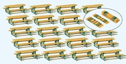 Picture of Long Foldable Tables w/Benches (20 Sets)
