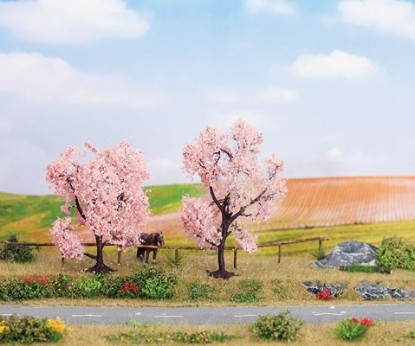 "Picture of Blooming Almond Trees -- 1 Each: 3-1/8 & 3-1/2"" 8 & 9cm Tall pkg(2)"