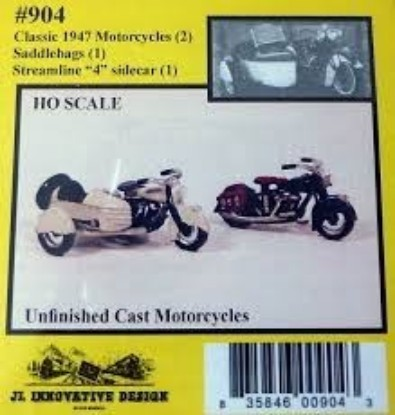 "Picture of Classic 1947 Motorcycles Kit (2 with 1 Set of Saddle Bags and 1 Streamline ""4"" Sidecar)"