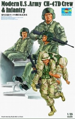 Picture of Modern U.S .Army CH-47D Crew & Infantry