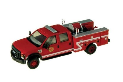 Picture of Ford F-550 XLT Dual Rear Wheel Crew-Cab Brush Fire Truck - Red, White Z Stripe