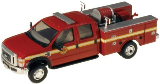Picture of Ford F-550 XLT Dual Rear Wheel Crew-Cab Brush Fire Truck- Red, Yellow Stripe