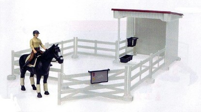 Picture of Small horse stable with horse and woman