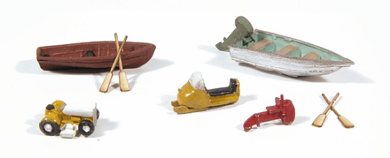 Picture of Recreational Detail Set -- 2 Boats w/Outboard Motors, 4 Oars, 1 Riding Lawnmower, 1 Snowmobile