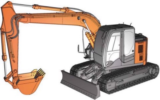 Picture of Hitachi Zaxis 135US track excavator with blade  kit