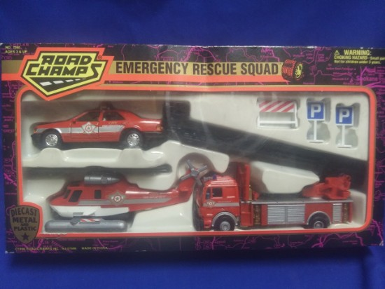 Picture of City fire department set - ladder, chief car, helicopter