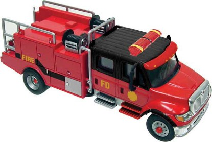Picture of International 7600 2-Axle Crew-Cab Brush Fire Truck- Red, Black