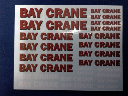 """Picture of Decals BAY crane   3""""x4"""" sheet"""