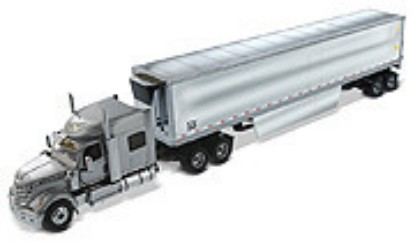 Picture of International LoneStar Silver + 53' Chrome Plated Refrigerated Trailer with Skirts