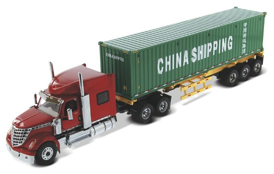 Picture of International LoneStar Sleeper Red+ Skeletal Trailer and 40' China Shipping Container