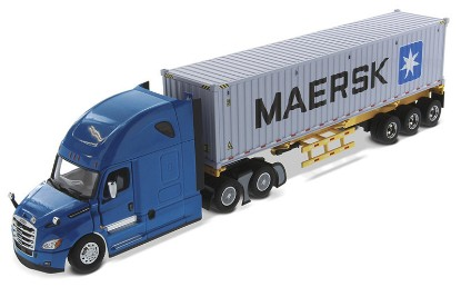 Picture of Freightliner New Cascadia with Sleeper Blue + Skeletal Trailer with MAERSK 40' Shipping Container