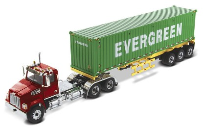 Picture of Western Star 4700 Day Cab  Metallic Red+ Yellow Skeletal Trailer and 40' EverGreen Shipping Container