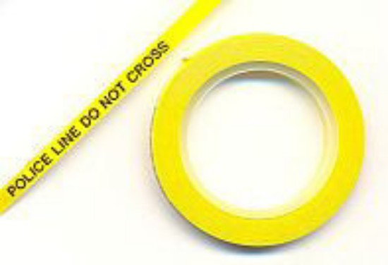 """Picture of Pinstripe Tape -Yellow """"crime scene do not cross""""(1/8"""" x 120"""")"""