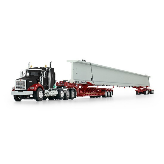Picture of Kenworth T800 w/ fontaine lowboy + with Bunk and Elk River 6-Axle Hydra Steer Trailer with Bridge Beam black/red