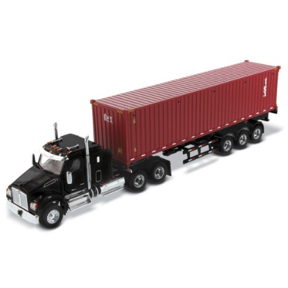 "Picture of Kenworth T880 w/40"" Sleeper Black+ Skeletal Trailer with TEXT 40' sea container"