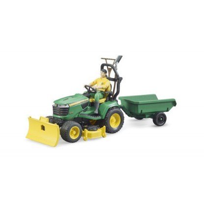 Picture of John Deere lawn tractor with trailer and figure