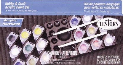 Picture of Acrylic Paint Pod Sets -- 18 Hobby & Craft Colors, 1 Paint Pod, 1 Paint Brush, 1 Mixing Tray