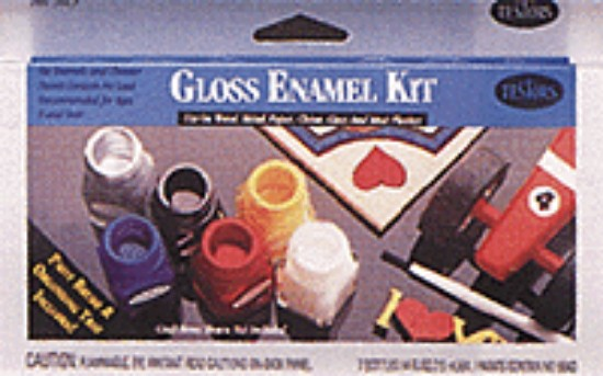 Picture of Enamel Paint Sets -- 6 Hobby & Home Colors, 1 Thinner, 1 Paint Brush, 1 Tray