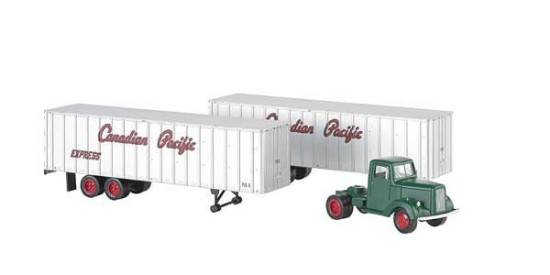 Picture of Truck Cab & 2 piggy back trailers   Canadian Pacific