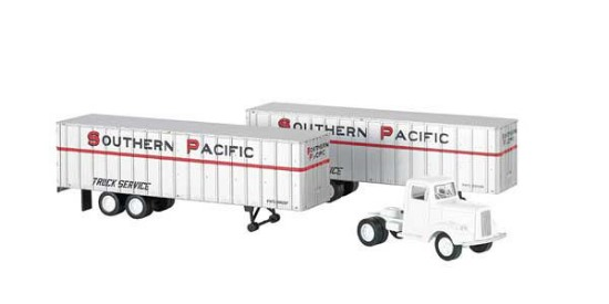 Picture of Truck Cab & 2 piggy back trailers   Southern Pacific