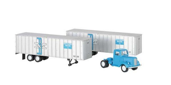 Picture of Truck Cab & 2 piggy back trailers   Boston & Maine