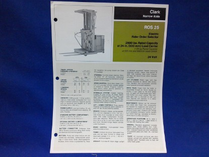 Picture of SLClark ROS 25  spec sheet